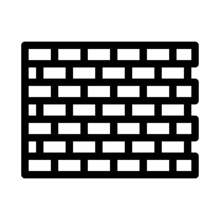 Brick Wall Icon Vector. Outline Brick Wall Sign. Isolated Contour Symbol Illustration