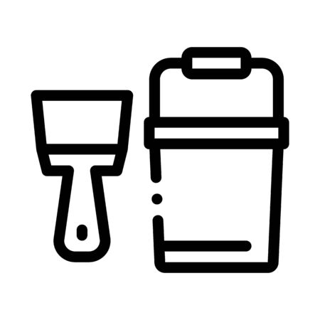 Spatula Bucket Icon Vector. Outline Spatula Bucket Sign. Isolated Contour Symbol Illustration Ilustração