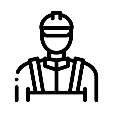 Mason Worker Icon Vector. Outline Mason Worker Sign. Isolated Contour Symbol Illustration