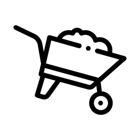 Construction Cart Icon Vector. Outline Construction Cart Sign. Isolated Contour Symbol Illustration