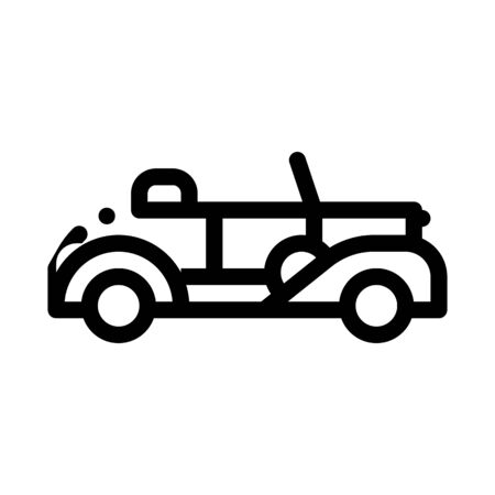 Old Car Cabriolet Icon Vector. Outline Old Car Cabriolet Sign. Isolated Contour Symbol Illustration