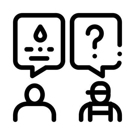 Plumber Discuss Icon Vector. Outline Plumber Discuss Sign. Isolated Contour Symbol Illustration