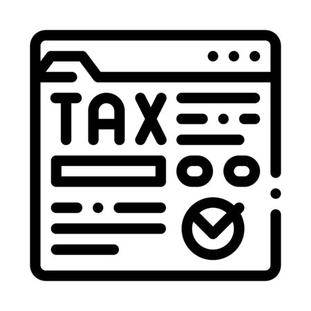 Tax Web Site Icon Vector. Outline Tax Web Site Sign. Isolated Contour Symbol Illustration Иллюстрация