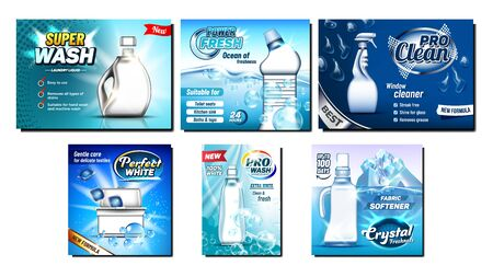 Detergent, Bleach Advertising Banners Set Vector. Different Bottle And Atomizer Spray, Container And Box For Cleaning Substance, Iceberg And Soap Bubbles. Concept Template Realistic 3d Illustrations Illusztráció