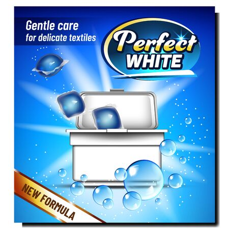 Perfect White Wash Powder Advertise Banner Vector. Cubes Of Washing Powder In Blank Plastic Box. Gentle Care For Delicate Textiles Laundry Machine In Box Package. Template Realistic 3d Illustration Vecteurs