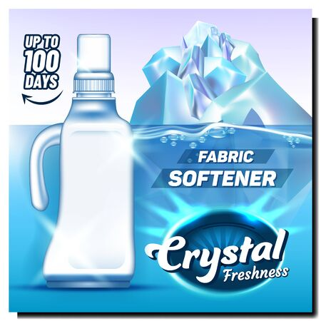 Crystal Freshness Fabric Softener Poster Vector. Blank Bleach Plastic Bottle Softener With Handle And Cap And Iceberg. Package For Laundry Detergent Concept Template Realistic 3d Illustration