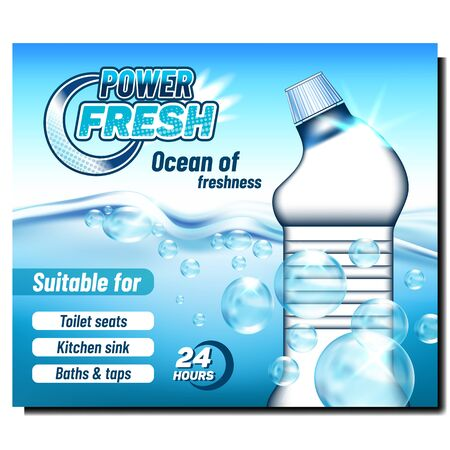 Fresh Power Cleaner Advertising Banner Vector. Blank Cleaner Plastic Bottle Ocean Of Freshness. Chemical Liquid For Toilet Seats, Kitchen Sink, Baths And Taps. Mockup Realistic 3d Illustration Ilustração