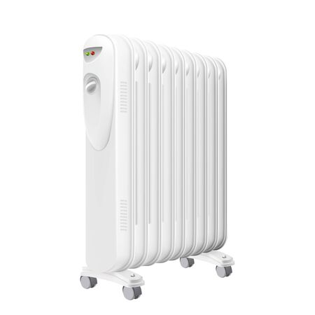 Electric Oil Heater Radiator Equipment Vector. Electrical Oil-filled Radiator With Heat Control And Wheels, Device For Heating Apartment Room. Concept Template Realistic 3d Illustration 向量圖像