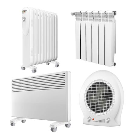 Heater Radiator Appliance Collection Set Vector. Wall Radiator And Electrical Oil-filled Device, Convector And Heat Fan Ventilator With Temperature Control. Concept Template Realistic 3d Illustrations