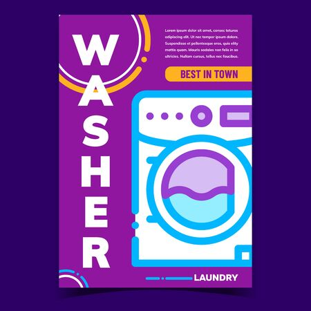 Washer Laundry Machine Advertising Banner Vector. Laundry Service Washing Equipment Best In Town. Wash And Clean Dirty Clothes Electrical Device Concept Template Stylish Colorful Illustration