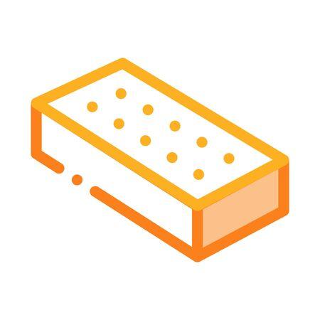 Brick Block Icon Vector. Outline Brick Block Sign. Color Isolated Contour Symbol Illustration