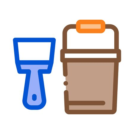 Spatula Bucket Icon Vector. Outline Spatula Bucket Sign. Color Isolated Contour Symbol Illustration