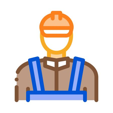 Mason Worker Icon Vector. Outline Mason Worker Sign. Color Isolated Contour Symbol Illustration