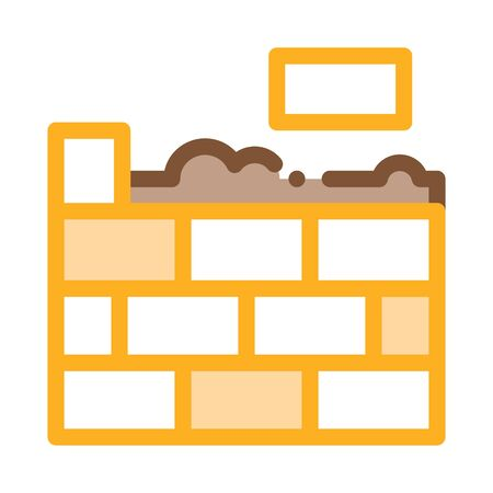 Bricklaying Icon Vector. Outline Bricklying Sign. Color Isolated Contour Symbol Illustration