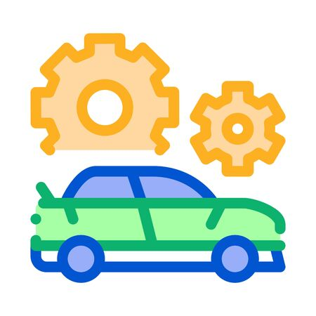 Crashed Car Icon Vector. Outline Crashed Car Sign. Isolated Contour Symbol Illustration