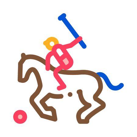Equestrian Polo Icon Vector. Outline Equestrian Polo Sign. Isolated Contour Symbol Illustration