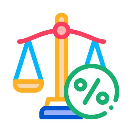 Scales Percentage Icon Vector. Outline Scales Percentage Sign. Isolated Contour Symbol Illustration
