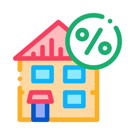 House Tax Percent Icon Vector. Outline House Tax Percent Sign. Isolated Contour Symbol Illustration