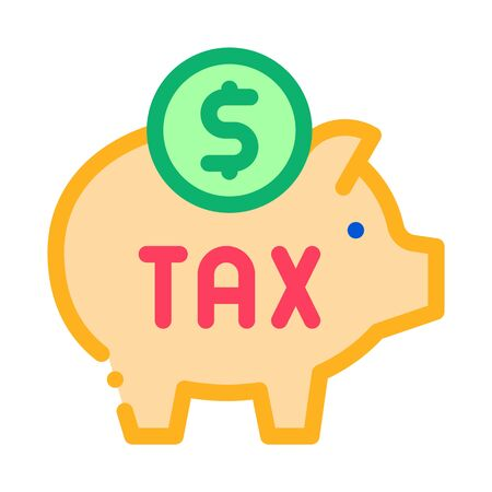 Tax Money Box Icon Vector. Outline Tax Money Box Sign. Isolated Contour Symbol Illustration