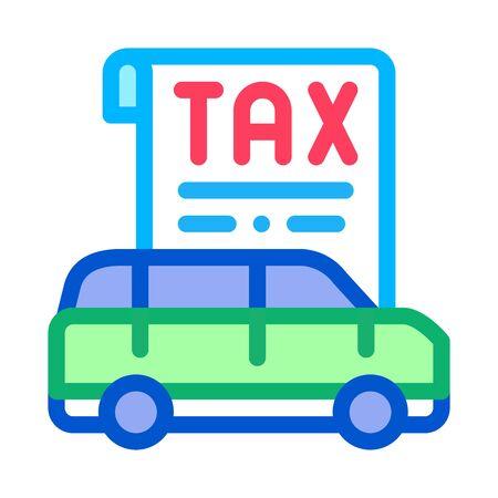 Car Tax Receipt Icon Vector. Outline Car Tax Receipt Sign. Isolated Contour Symbol Illustration Vektorové ilustrace