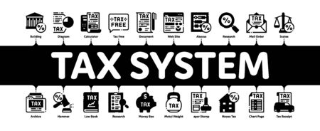 Tax System Finance Minimal Infographic Web Banner Vector. Tax System Building And Car, Document And Mail Notice, Abacus And Scales Illustrations