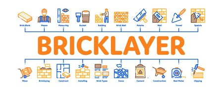 Bricklayer Industry Minimal Infographic Web Banner Vector. Professional Bricklayer Worker, Mason Layer Equipment For Construct Brick Wall Illustrations Ilustração