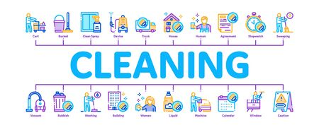 Cleaning Service Tool Minimal Infographic Web Banner Vector. Liquid For Clean Window And Wash Floor, Vacuum Cleaner And Bucket Cleaning Service Illustrations Ilustración de vector