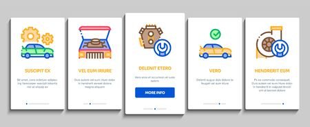 Car Restoration Repair Onboarding Mobile App Page Screen Vector. Classic And Crashed Car Restoration, Painting Body And Fixing Engine, Wheel And Details Color Contour Illustrations