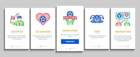 Soccer Fan Attributes Onboarding Mobile App Page Screen Vector. Soccer Fan Hat And Glove In Hand Form, Heart And Air Beeper, T-shirt And Goal Nameplate Color Contour Illustrations