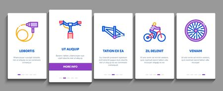 Bicycle Bike Details Onboarding Mobile App Page Screen Vector. Mountain Bicycle Wheel And Seat, Brake And Frame, Chain And Pump Equipment Color Contour Illustrations