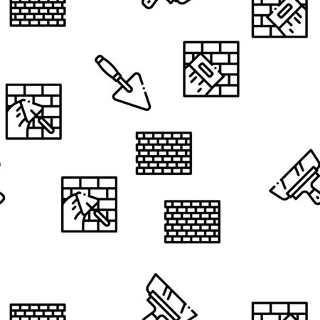 Bricklayer Industry Seamless Pattern Vector Thin Line. Illustrations