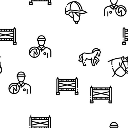 Equestrian Animal Seamless Pattern Vector Thin Line. Illustrations