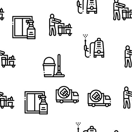 Cleaning Service Tool Seamless Pattern Vector Thin Line. Illustrations  イラスト・ベクター素材