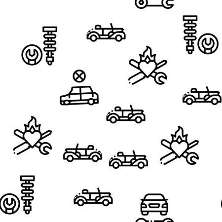 Car Restoration Repair Seamless Pattern Vector Thin Line. Illustrations
