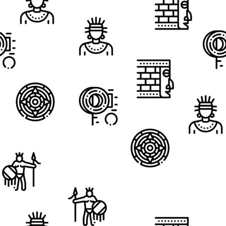 Aztec Civilization Seamless Pattern Vector Thin Line. Illustrations