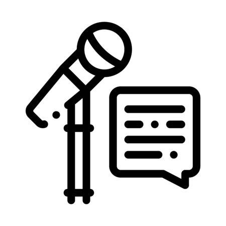 Replica Talking in Microphone Icon Vector. Outline Replica Talking in Microphone Sign. Isolated Contour Symbol Illustration 向量圖像