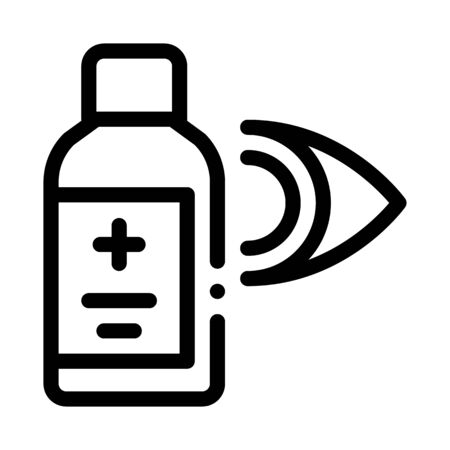 Glaucoma Medicine Vial Icon Vector. Outline Glaucoma Medicine Vial Sign. Isolated Contour Symbol Illustration 向量圖像