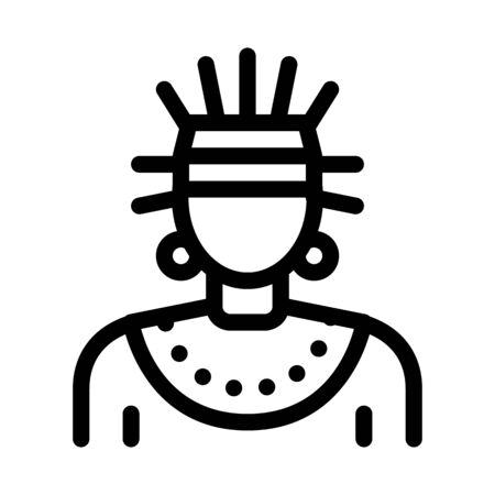Aztec Shaman Icon Vector. Outline Aztec Shaman Sign. Isolated Contour Symbol Illustration
