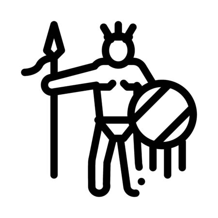 Aztec with Spear and Shield Icon Vector. Outline Aztec with Spear and Shield Sign. Isolated Contour Symbol Illustration Ilustração