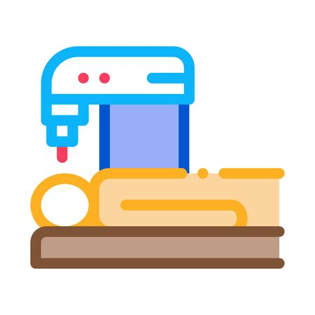 People Treatment Machinery Icon Vector. Outline People Treatment Machinery Sign. Isolated Contour Symbol Illustration
