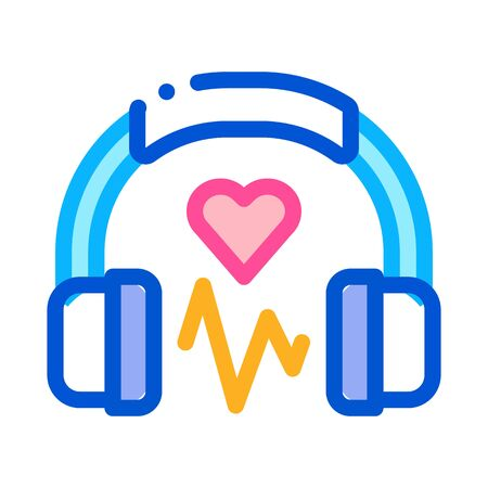 Influence on Heart of Music Icon Vector. Outline Influence on Heart of Music Sign. Isolated Contour Symbol Illustration