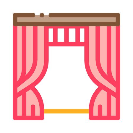 Theatrical Curtain Icon Vector. Outline Theatrical Curtain Sign. Isolated Contour Symbol Illustration 向量圖像