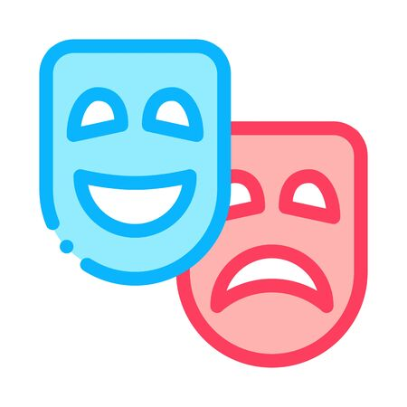 Mask People Emotions Icon Vector. Outline Mask People Emotions Sign. Isolated Contour Symbol Illustration