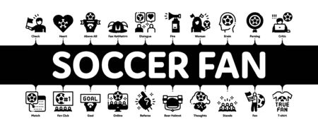 Soccer Fan Attributes Minimal Infographic Web Banner Vector. Soccer Fan Hat And Glove In Hand Form, Heart And Air Beeper, T-shirt And Goal Nameplate Illustrations Ilustração