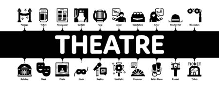 Theatre Equipment Minimal Infographic Web Banner Vector. Theatre Ticket And Binoculars, Mask And Microphone, Curtain And Seats, Building And Hat Illustrations 向量圖像
