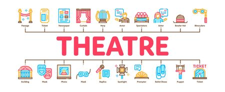 Theatre Equipment Minimal Infographic Web Banner Vector. Theatre Ticket And Binoculars, Mask And Microphone, Curtain And Seats, Building And Hat Illustrations Illustration