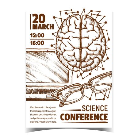 Medicine Science Conference Promo Poster Vector. Human Head Organ Brain Top View, Glasses Spectacles And Laptop Doctor Speaker Anatomy Lessons Tools. Designed In Retro Style Monochrome Illustration