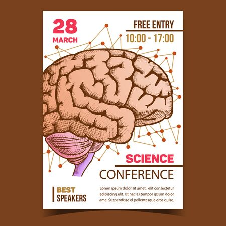 Medical Science Conference Promotion Poster Vector. Human Organ Brain For Medicine Anatomy Education Or Conference. Intelligence, Memory And Think Organism Designed In Retro Style Color Illustration