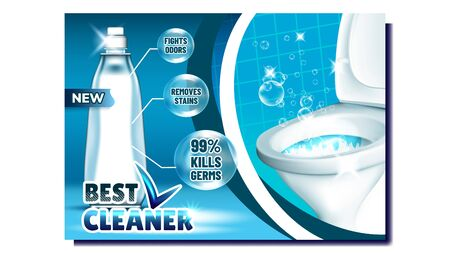 Best Cleaner Creative Advertising Poster Vector. Blank Bottle With Liquid Cleaner And Bubbles For Washing Toilet, Kill Germs And Fight Odors. Restroom Hygiene Concept Mockup Realistic 3d Illustration