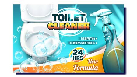 Toilet Cleaner Creative Advertising Poster Vector. Blank Spray With New Formula Liquid And Bubbles For Wash Toilet. Disinfection, Cleanliness And Freshness Concept Layout Realistic 3d Illustration Illusztráció